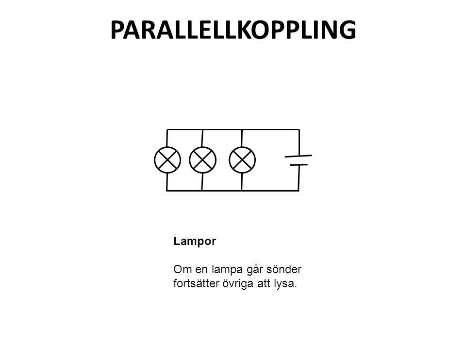 PARALLELLKOPPLING Lampor Om en lampa går sönder fortsätter övriga att lysa.