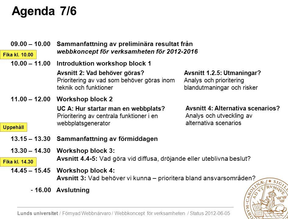 Lunds universitet / Förnyad Webbnärvaro / Webbkoncept för verksamheten / Status 2012-06-05 Agenda 7/6 09.00 – 10.00Sammanfattning av preliminära resultat från webbkoncept för verksamheten för 2012-2016 10.00 – 11.00Introduktion workshop block 1 11.00 – 12.00Workshop block 2 13.15 – 13.30 Sammanfattning av förmiddagen 13.30 – 14.30 Workshop block 3: Avsnitt 4.4-5: Vad göra vid diffusa, dröjande eller uteblivna beslut.