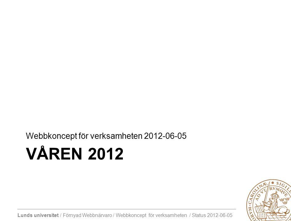 Lunds universitet / Förnyad Webbnärvaro / Webbkoncept för verksamheten / Status 2012-06-05 VÅREN 2012 Webbkoncept för verksamheten 2012-06-05