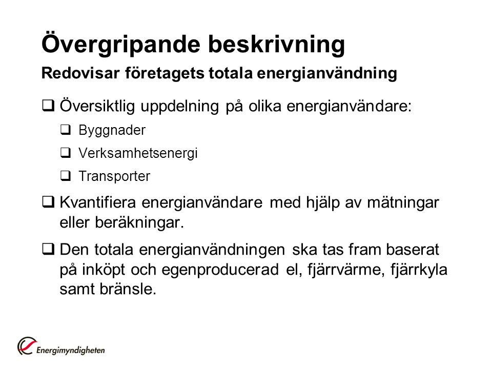 Övergripande beskrivning Redovisar företagets totala energianvändning  Översiktlig uppdelning på olika energianvändare:  Byggnader  Verksamhetsener