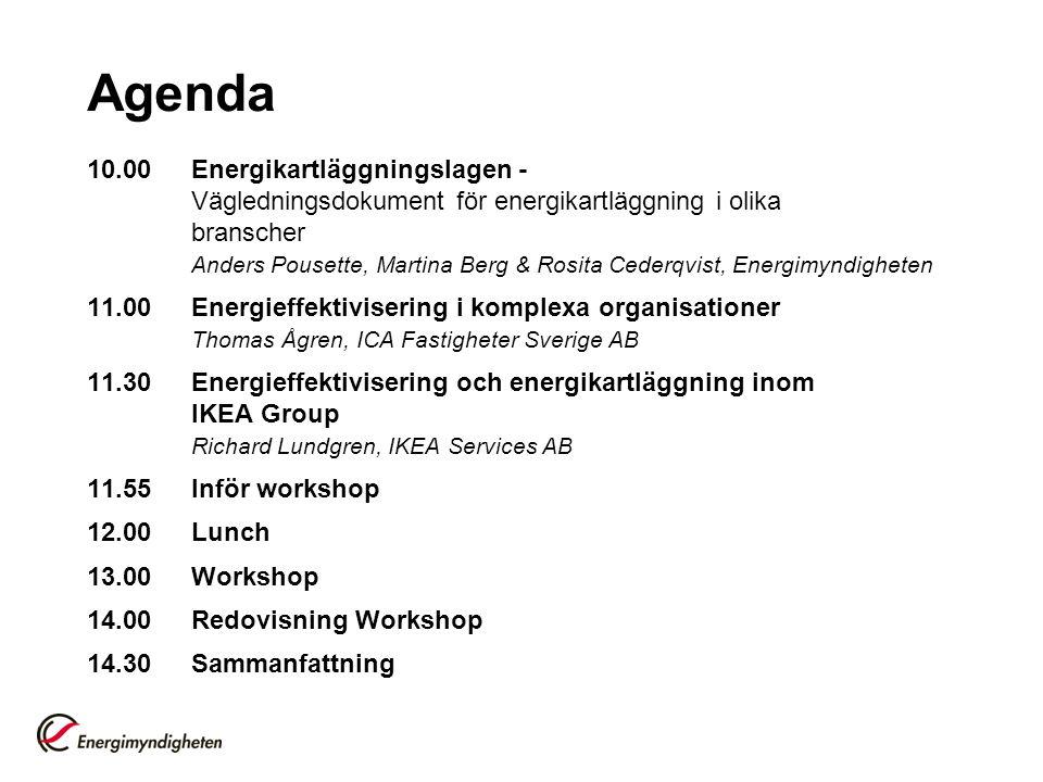 Agenda 10.00Energikartläggningslagen - Vägledningsdokument för energikartläggning i olika branscher Anders Pousette, Martina Berg & Rosita Cederqvist,