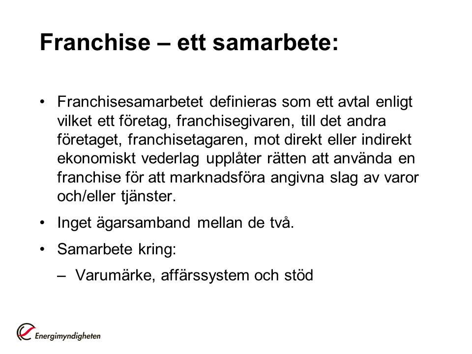 Franchise – ett samarbete: Franchisesamarbetet definieras som ett avtal enligt vilket ett företag, franchisegivaren, till det andra företaget, franchi