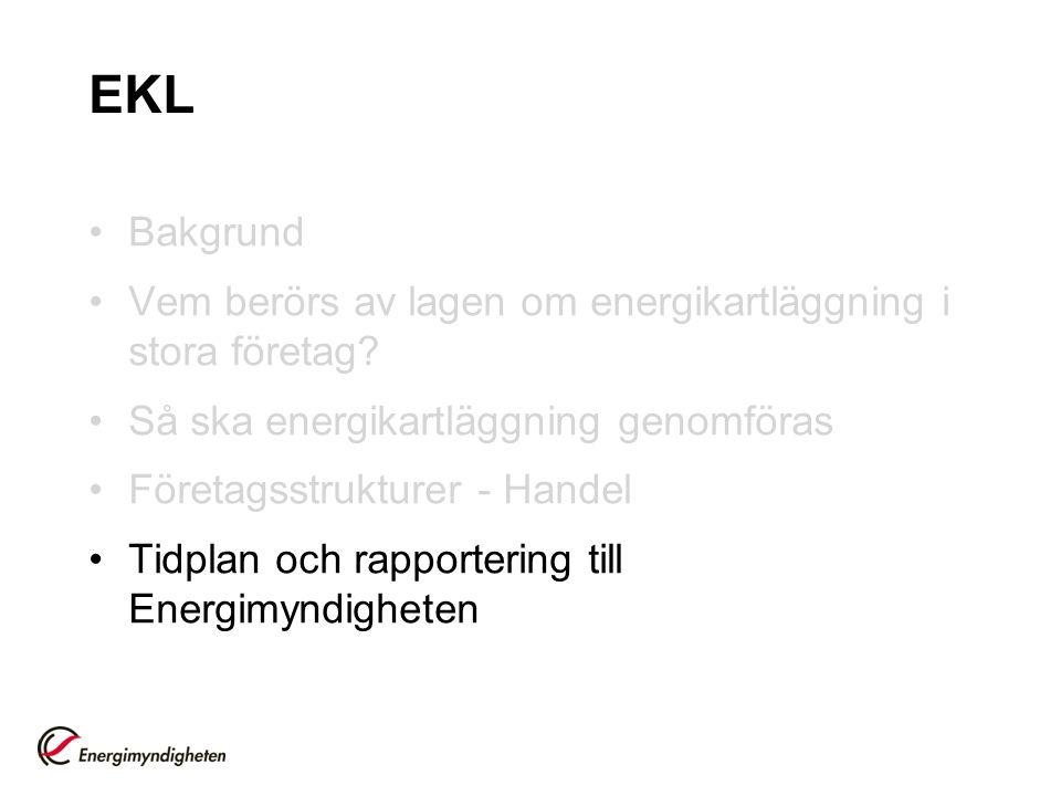 EKL Bakgrund Vem berörs av lagen om energikartläggning i stora företag? Så ska energikartläggning genomföras Företagsstrukturer - Handel Tidplan och r