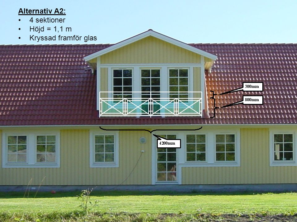 Alternativ A3: 4 sektioner Höjd = 1,0 m Kryssad framför glas