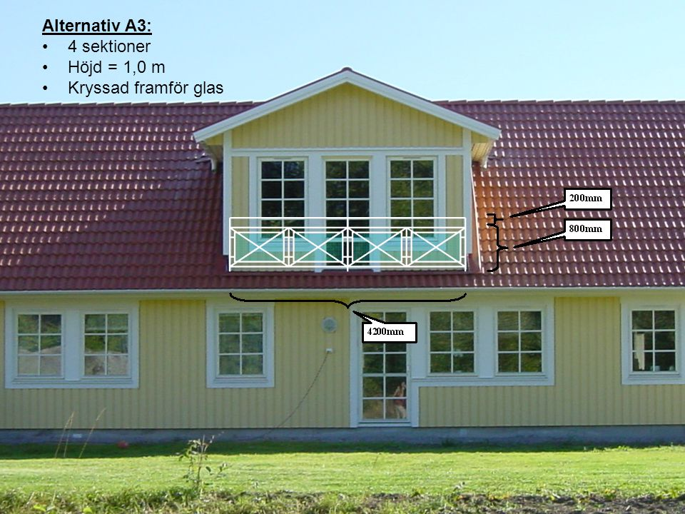 Alternativ B1: 3 sektioner Höjd = 1,1 m Endast glas