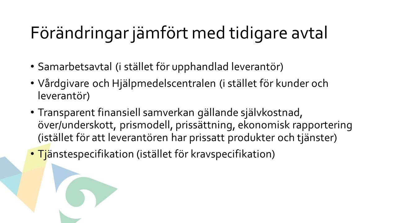 Förändringar jämfört med tidigare avtal Samarbetsavtal (i stället för upphandlad leverantör) Vårdgivare och Hjälpmedelscentralen (i stället för kunder och leverantör) Transparent finansiell samverkan gällande självkostnad, över/underskott, prismodell, prissättning, ekonomisk rapportering (istället för att leverantören har prissatt produkter och tjänster) Tjänstespecifikation (istället för kravspecifikation)