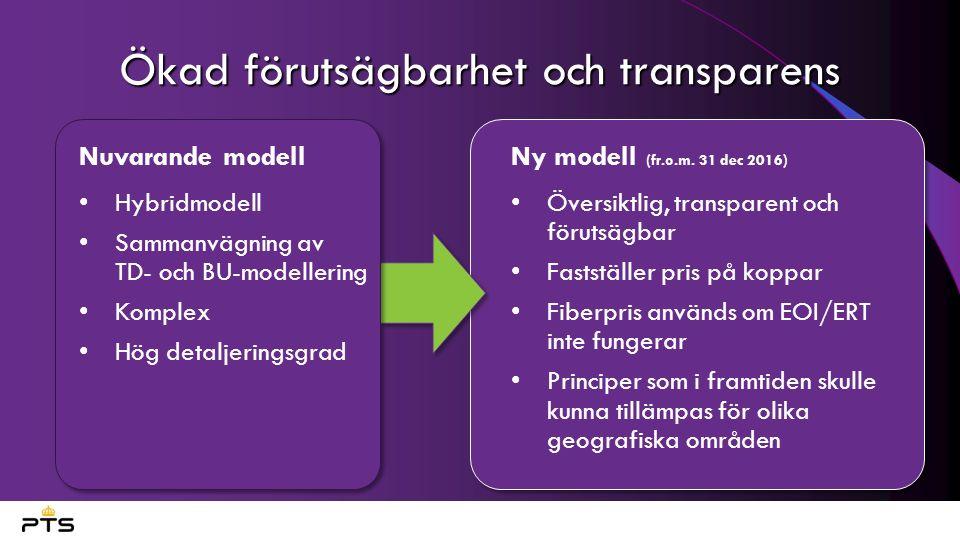 Ökad förutsägbarhet och transparens Nuvarande modell Hybridmodell Sammanvägning av TD- och BU-modellering Komplex Hög detaljeringsgrad Ny modell (fr.o.m.