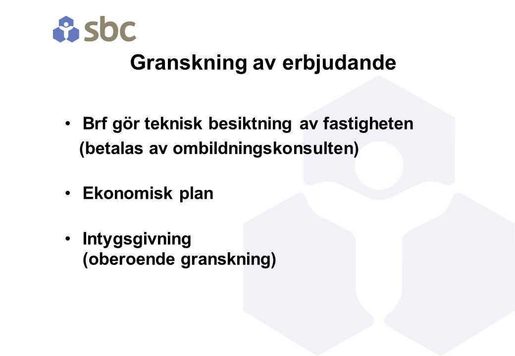 Granskning av erbjudande Brf gör teknisk besiktning av fastigheten (betalas av ombildningskonsulten) Ekonomisk plan Intygsgivning (oberoende granskning)