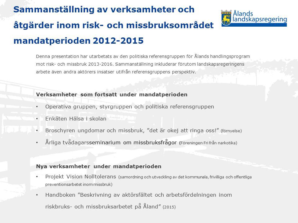 Sammanställning av verksamheter och åtgärder inom risk- och missbruksområdet mandatperioden 2012-2015 Denna presentation har utarbetats av den politiska referensgruppen för Ålands handlingsprogram mot risk- och missbruk 2013-2016.