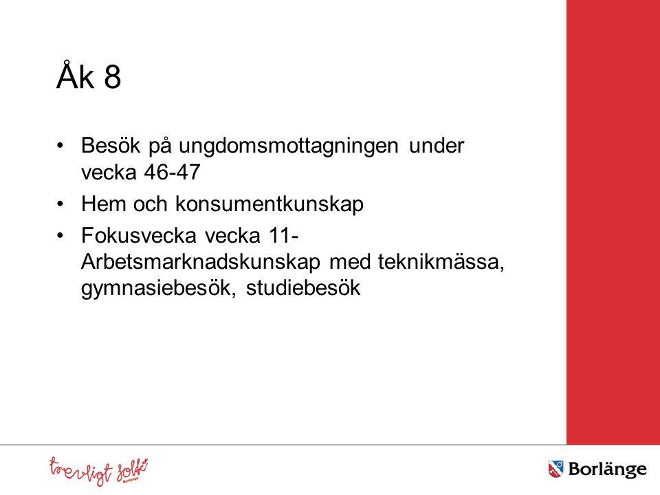 Åk 8 Besök på ungdomsmottagningen under vecka 46-47 Hem och konsumentkunskap Fokusvecka vecka 11- Arbetsmarknadskunskap med teknikmässa, gymnasiebesök