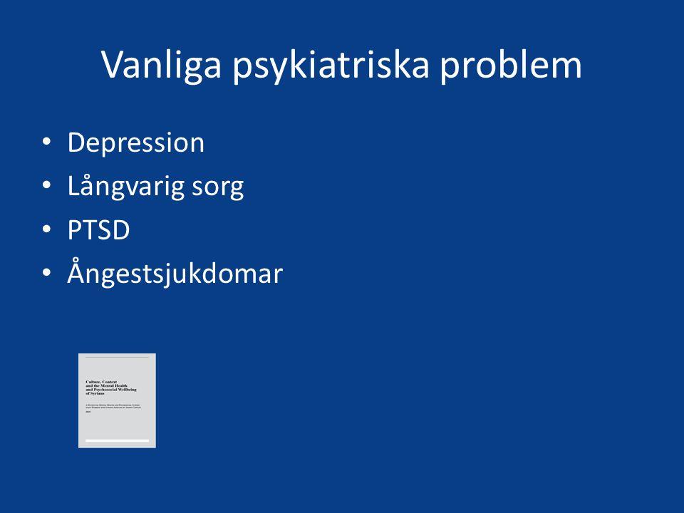 Vanliga psykiatriska problem Depression Långvarig sorg PTSD Ångestsjukdomar