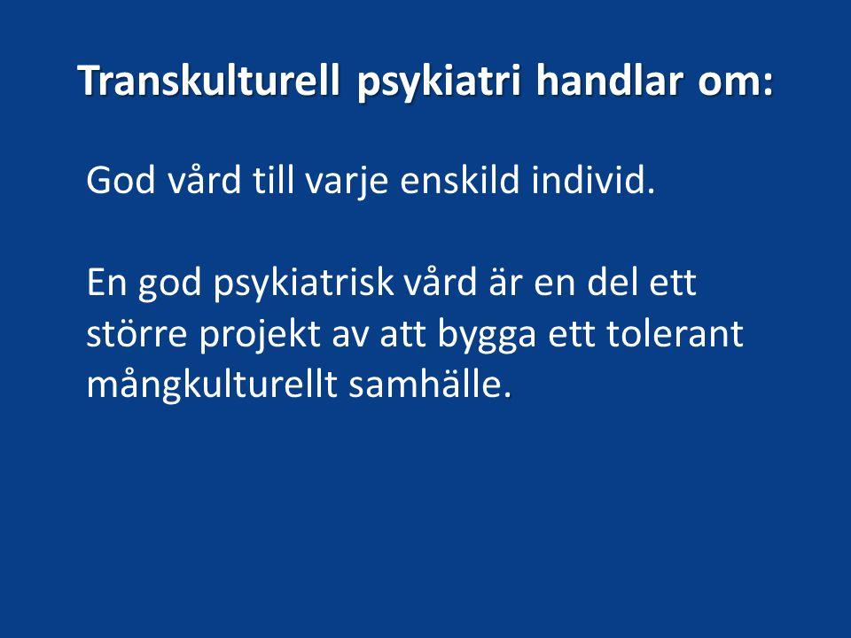 Transkulturell psykiatri handlar om: God vård till varje enskild individ.. En god psykiatrisk vård är en del ett större projekt av att bygga ett toler