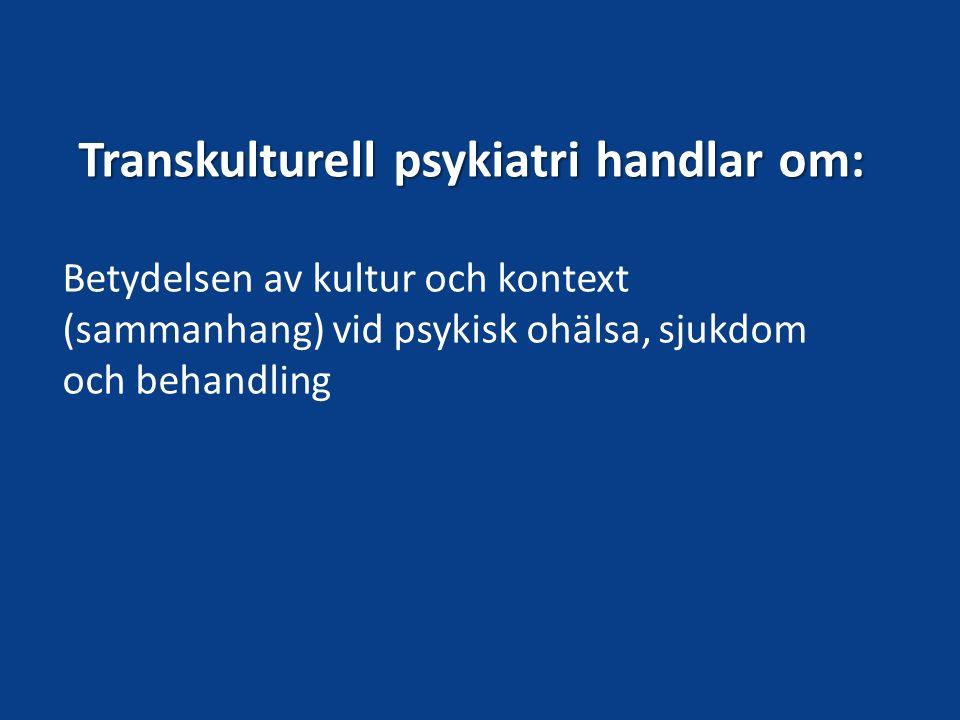 Migration och psykisk hälsa Migranter – en komplex bild övergripande bild av sämre psykisk hälsa Gilliver, S m.fl.