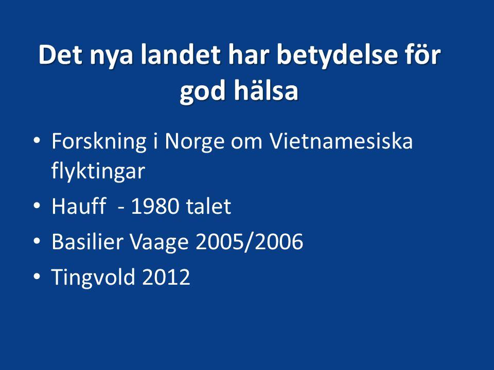 Det nya landet har betydelse för god hälsa Forskning i Norge om Vietnamesiska flyktingar Hauff - 1980 talet Basilier Vaage 2005/2006 Tingvold 2012