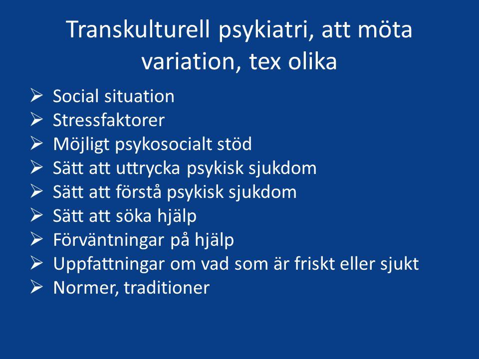 Transkulturell psykiatri, att möta variation, tex olika  Social situation  Stressfaktorer  Möjligt psykosocialt stöd  Sätt att uttrycka psykisk sjukdom  Sätt att förstå psykisk sjukdom  Sätt att söka hjälp  Förväntningar på hjälp  Uppfattningar om vad som är friskt eller sjukt  Normer, traditioner