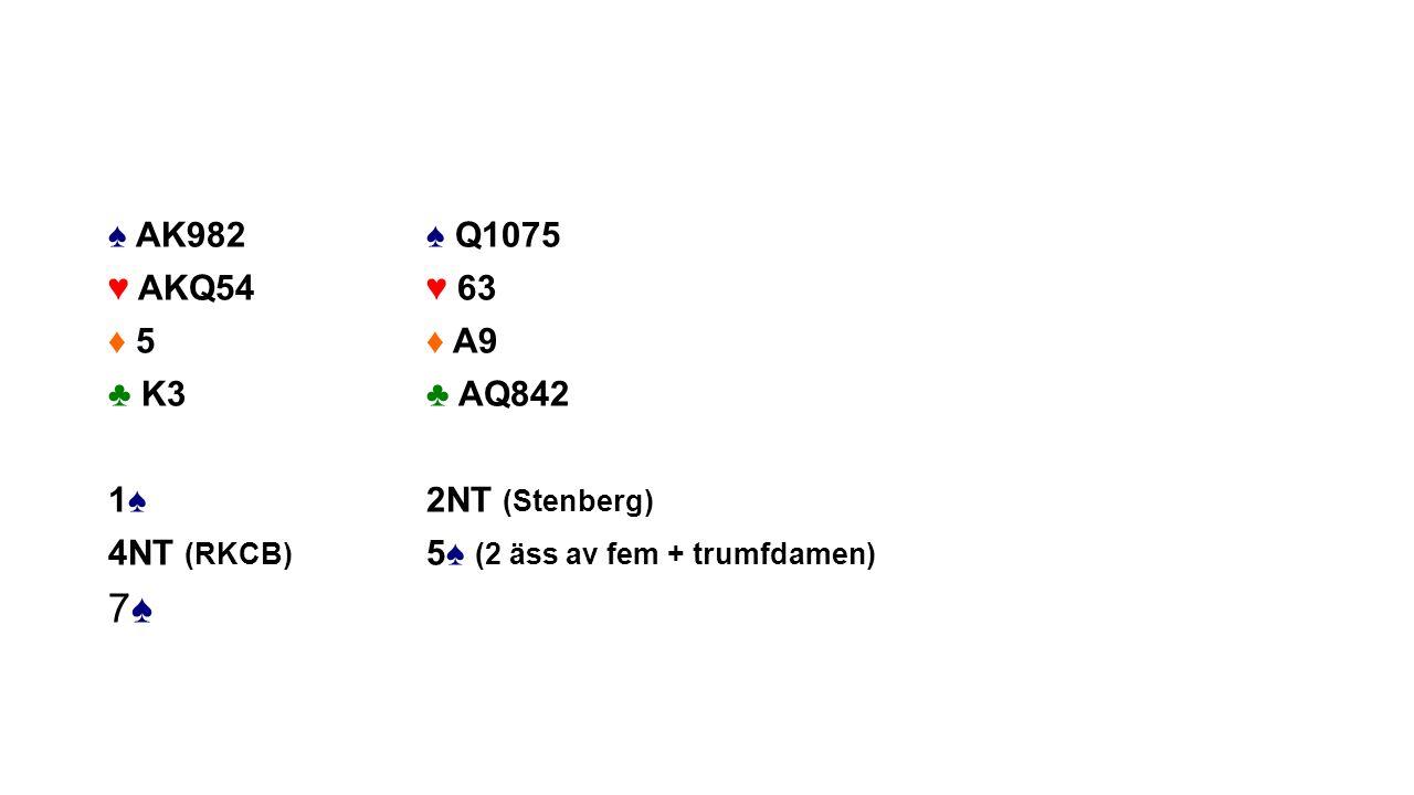 ♠ AK982♠ Q1075 ♥ AKQ54♥ 63 ♦ 5♦ A9 ♣ K3♣ AQ842 1♠2NT (Stenberg) 4NT (RKCB) 5♠ (2 äss av fem + trumfdamen) 7♠7♠