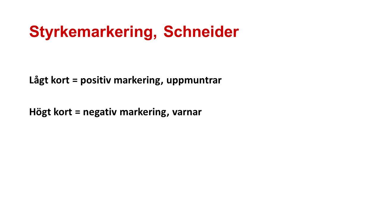 Styrkemarkering, Schneider Lågt kort = positiv markering, uppmuntrar Högt kort = negativ markering, varnar