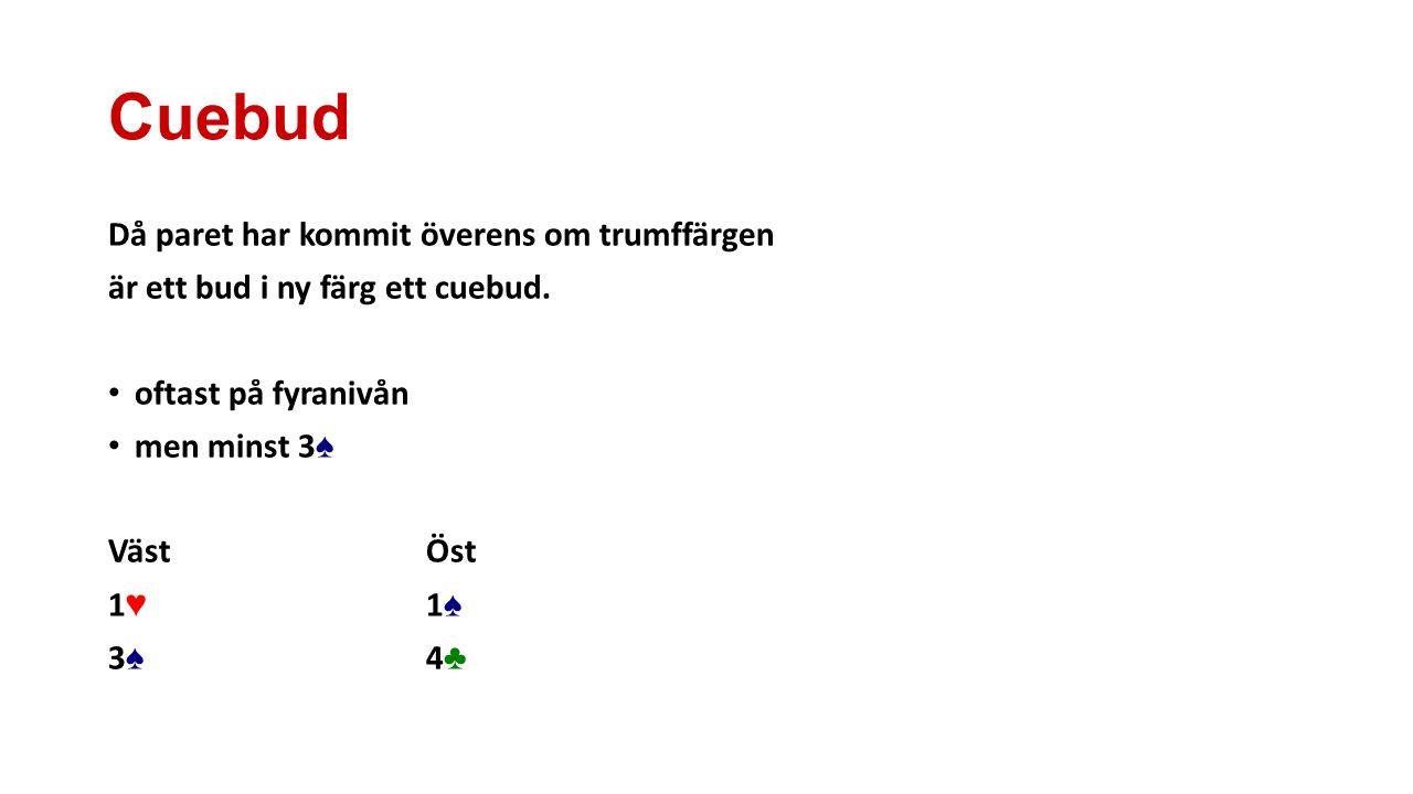 Cuebud Då paret har kommit överens om trumffärgen är ett bud i ny färg ett cuebud. oftast på fyranivån men minst 3 ♠ VästÖst 1♥1♠1♥1♠ 3♠4♣3♠4♣