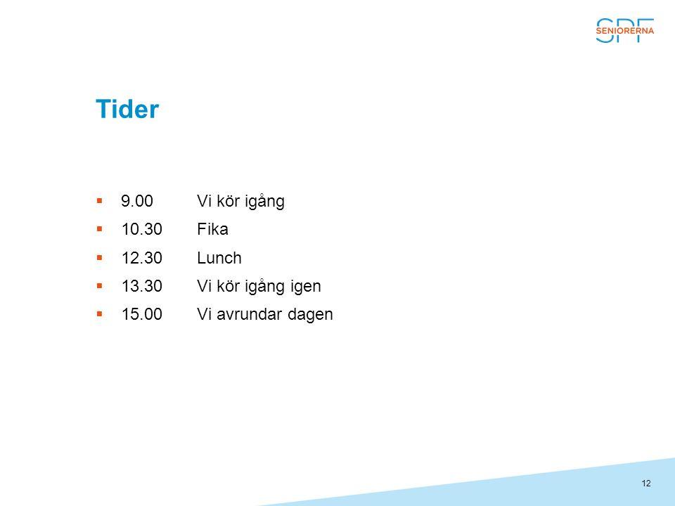 12 Tider  9.00Vi kör igång  10.30Fika  12.30Lunch  13.30Vi kör igång igen  15.00Vi avrundar dagen