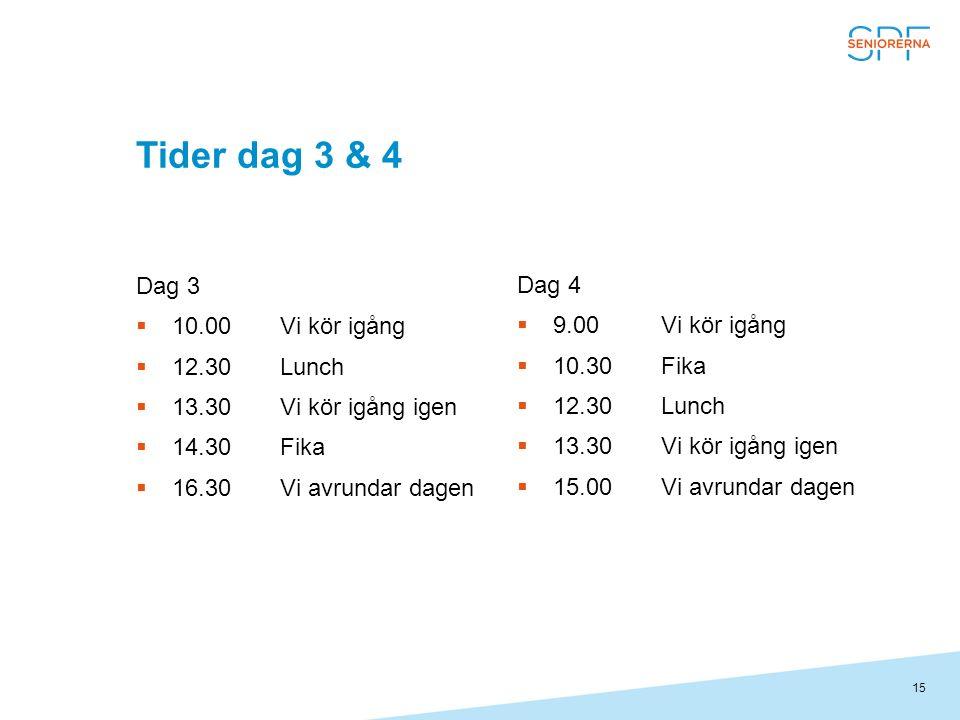 15 Tider dag 3 & 4 Dag 3  10.00Vi kör igång  12.30Lunch  13.30Vi kör igång igen  14.30Fika  16.30Vi avrundar dagen Dag 4  9.00Vi kör igång  10.