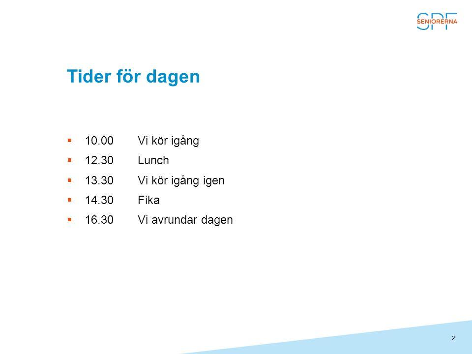 2 Tider för dagen  10.00Vi kör igång  12.30Lunch  13.30Vi kör igång igen  14.30Fika  16.30Vi avrundar dagen