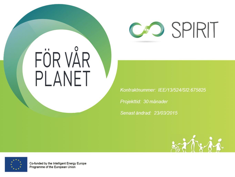 Updated Aug 2013 SPIRIT genomförs i ett partnerskap av åtta organisationer i åtta medlemsländer Projektet har fokus att åstadkomma energibesparing, minskade utsläpp av koldioxid och varaktig beteendeförändring.