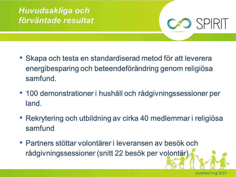 Updated Aug 2013 Huvudsakliga och förväntade resultat Skapa och testa en standardiserad metod för att leverera energibesparing och beteendeförändring genom religiösa samfund.