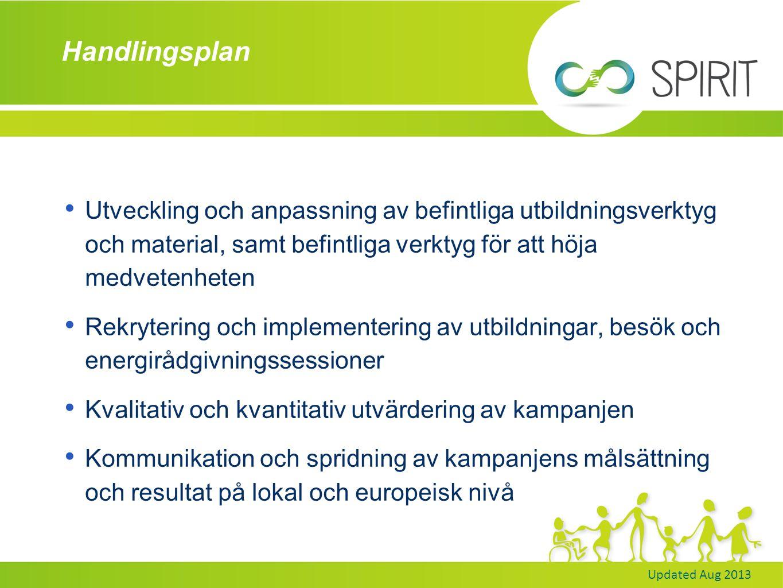 Updated Aug 2013 Handlingsplan Utveckling och anpassning av befintliga utbildningsverktyg och material, samt befintliga verktyg för att höja medvetenheten Rekrytering och implementering av utbildningar, besök och energirådgivningssessioner Kvalitativ och kvantitativ utvärdering av kampanjen Kommunikation och spridning av kampanjens målsättning och resultat på lokal och europeisk nivå
