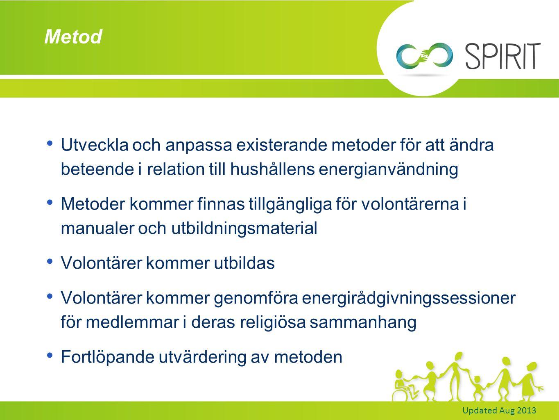 Updated Aug 2013 Vad är genomfört hittills.