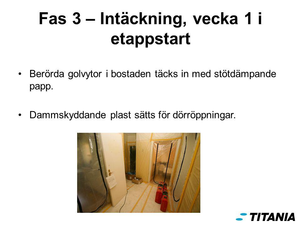Fas 3 – Intäckning, vecka 1 i etappstart Berörda golvytor i bostaden täcks in med stötdämpande papp.