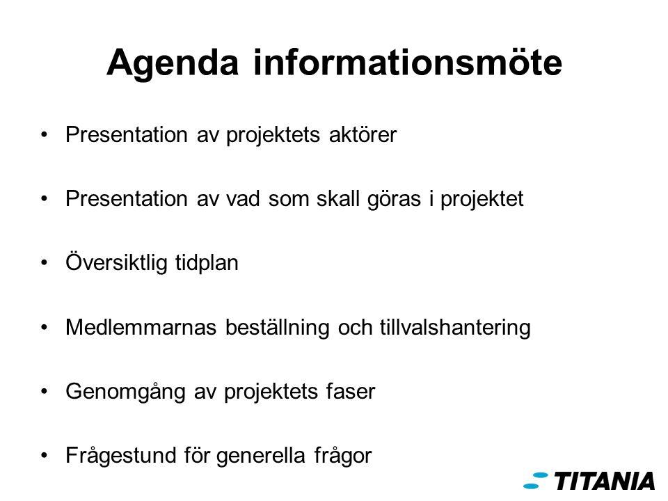Agenda informationsmöte Presentation av projektets aktörer Presentation av vad som skall göras i projektet Översiktlig tidplan Medlemmarnas beställning och tillvalshantering Genomgång av projektets faser Frågestund för generella frågor
