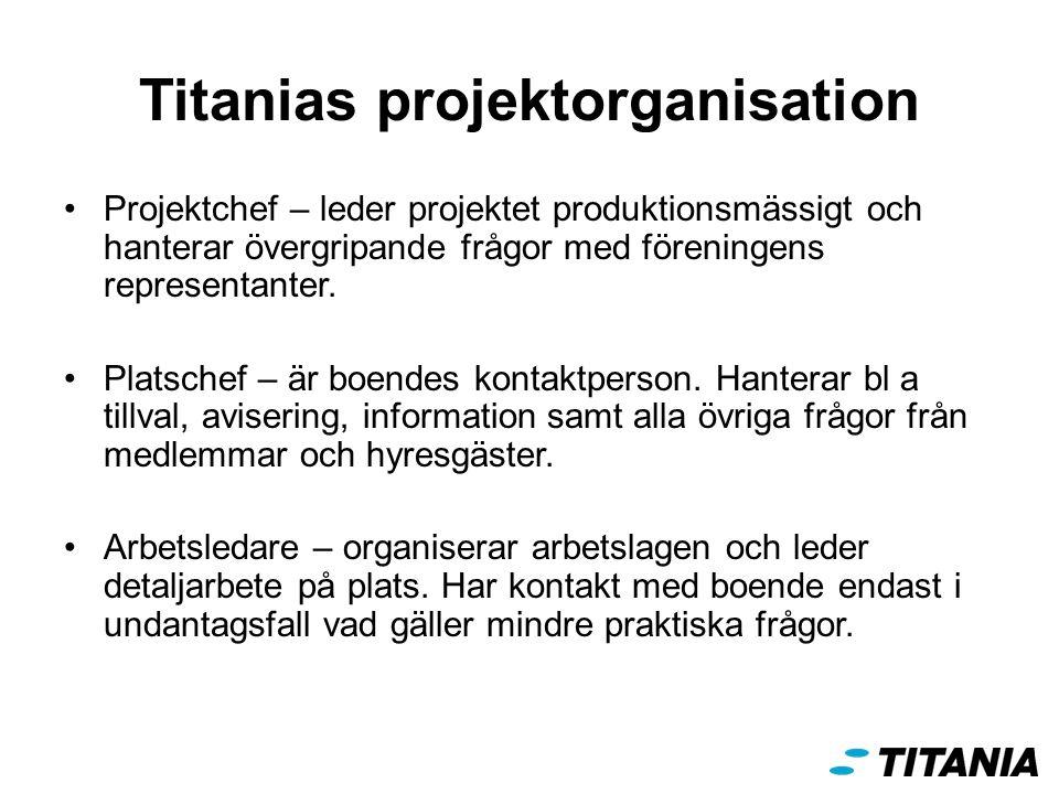 Titanias projektorganisation Projektchef – leder projektet produktionsmässigt och hanterar övergripande frågor med föreningens representanter.
