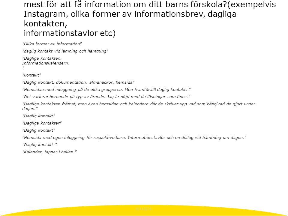 10/11/2015 Olika former av information daglig kontakt vid lämning och hämtning Dagliga kontakten.
