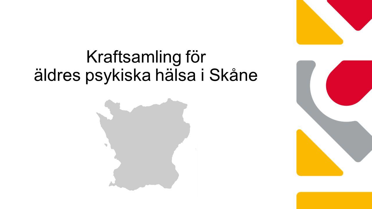 Nationellt Regionalt delregionalt Lokalt Bättre liv för sjuka äldre – 2010-2014 Äldres psykiska hälsa – nytt målområde 2013 Skånes kommuner och Region Skåne fortsätter det gemensamma arbetet för bättre liv för sjuka äldre under 2015 och 2016 där äldres psykiska hälsa är ett av målområdena.