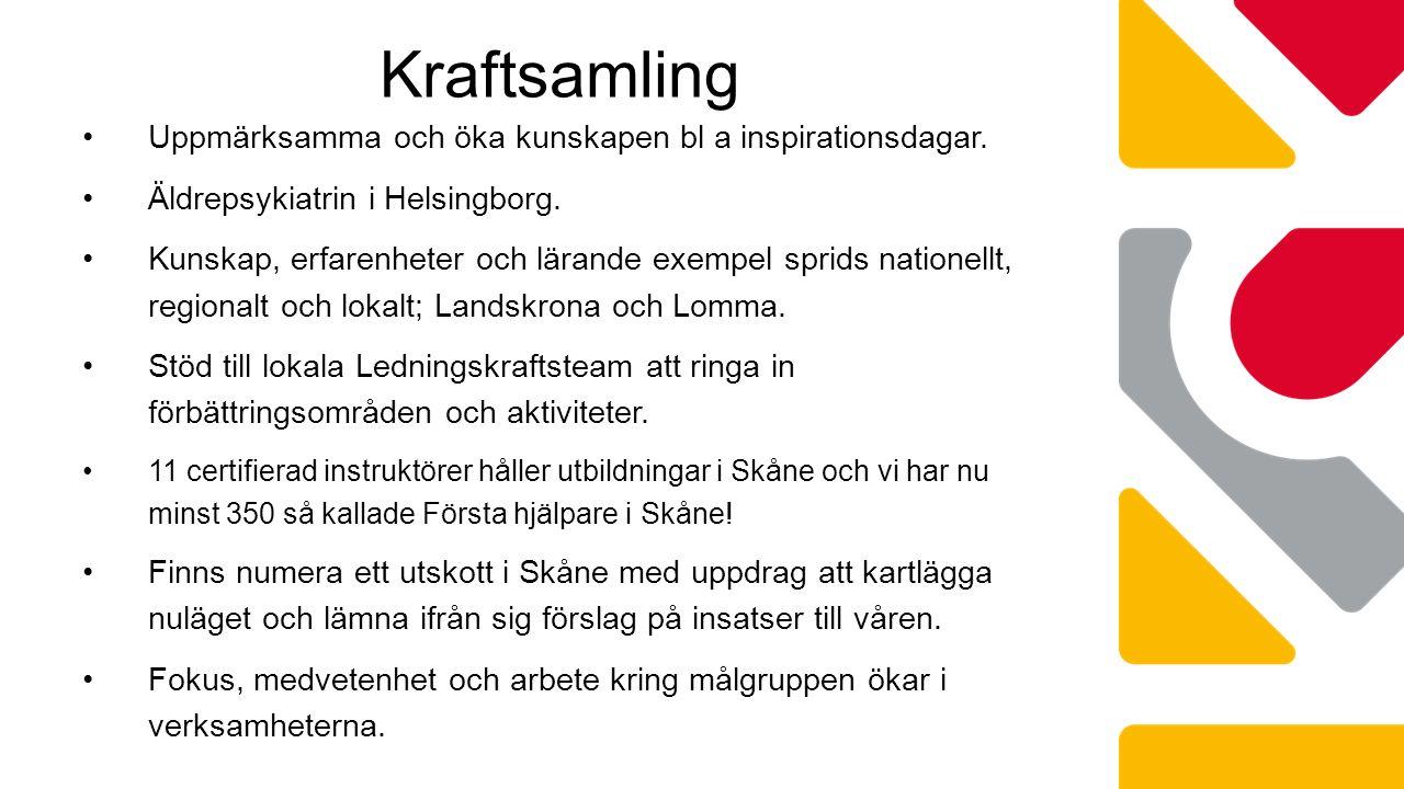 Kraftsamling Uppmärksamma och öka kunskapen bl a inspirationsdagar. Äldrepsykiatrin i Helsingborg. Kunskap, erfarenheter och lärande exempel sprids na