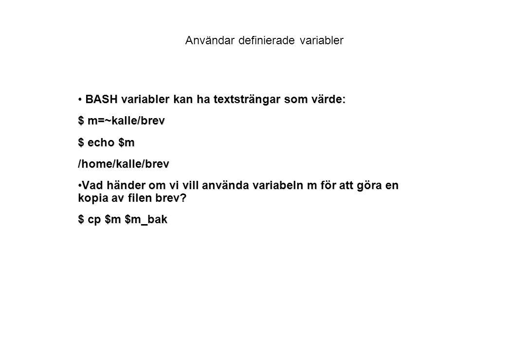 Användar definierade variabler BASH variabler kan ha textsträngar som värde: BASH variabler kan ha textsträngar som värde: $ m=~kalle/brev $ echo $m /home/kalle/brev Vad händer om vi vill använda variabeln m för att göra en kopia av filen brev?Vad händer om vi vill använda variabeln m för att göra en kopia av filen brev.