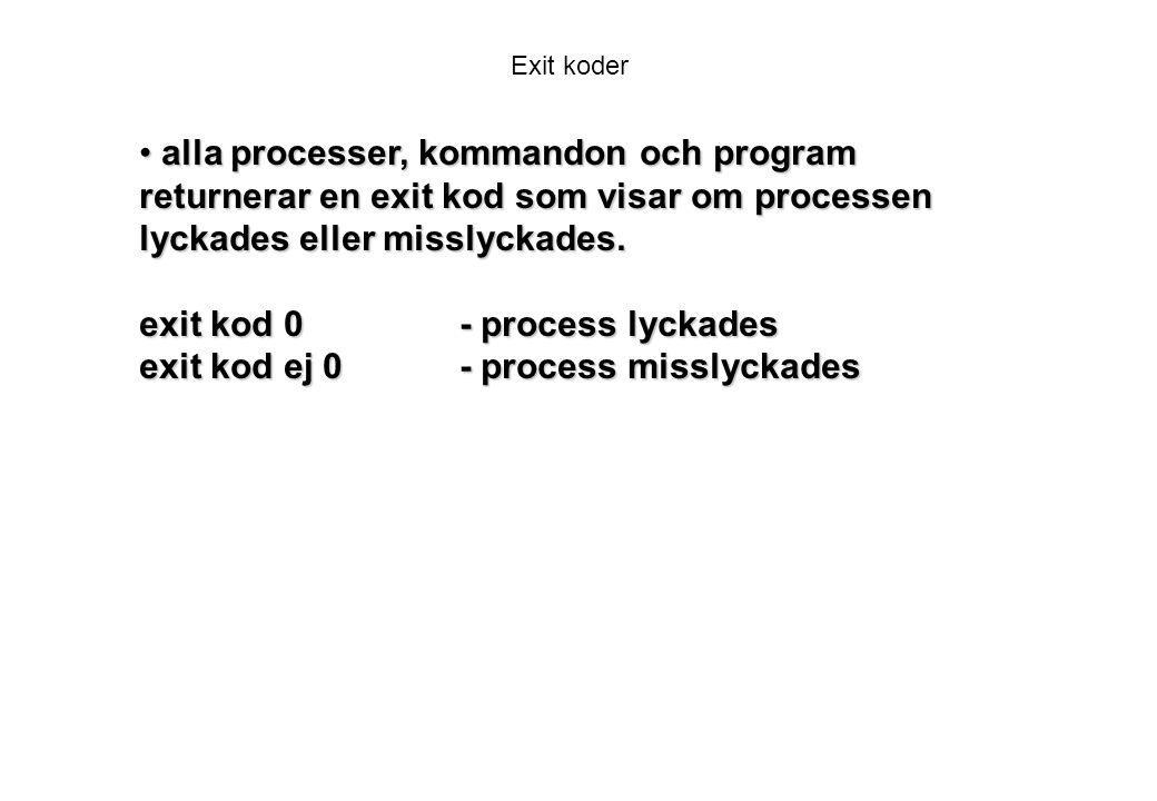 Exit koder alla processer, kommandon och program returnerar en exit kod som visar om processen lyckades eller misslyckades.
