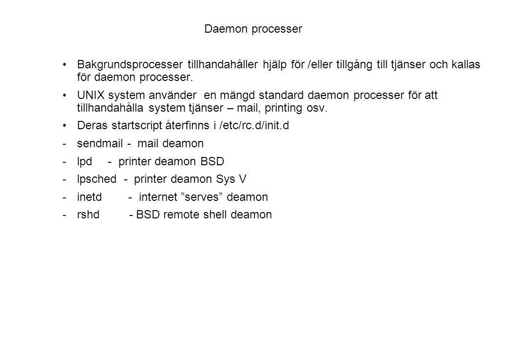 Daemon processer Bakgrundsprocesser tillhandahåller hjälp för /eller tillgång till tjänser och kallas för daemon processer.