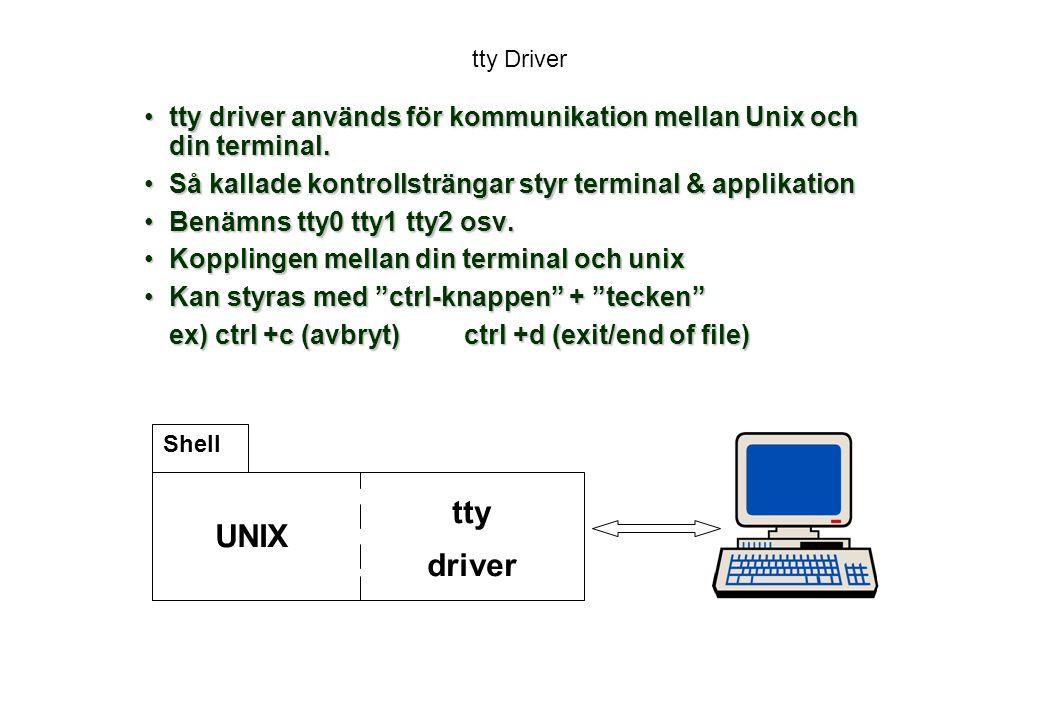 tty Driver tty driver används för kommunikation mellan Unix och din terminal.tty driver används för kommunikation mellan Unix och din terminal.