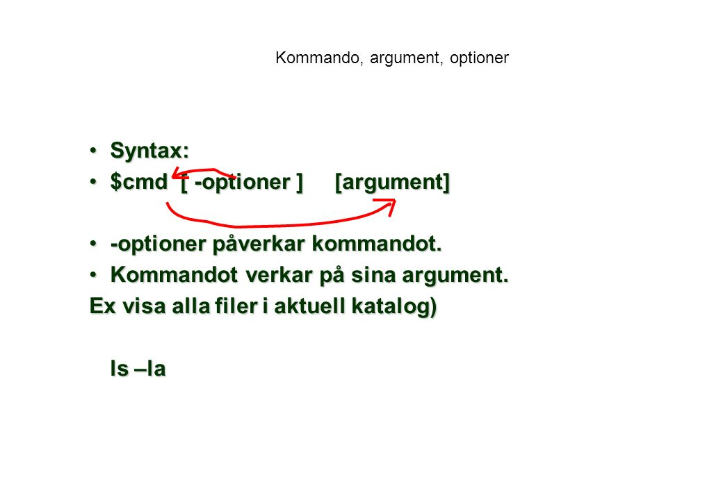 Kommando, argument, optioner Syntax:Syntax: $cmd [ -optioner ] [argument]$cmd [ -optioner ] [argument] -optioner påverkar kommandot.-optioner påverkar