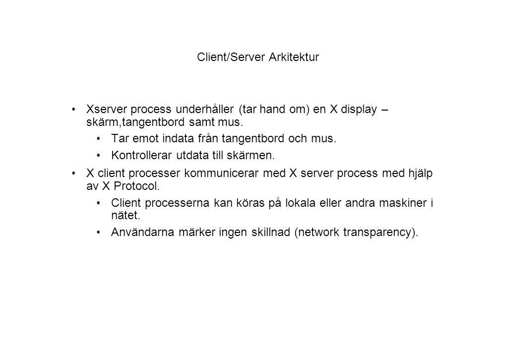 Client/Server Arkitektur Xserver process underhåller (tar hand om) en X display – skärm,tangentbord samt mus.