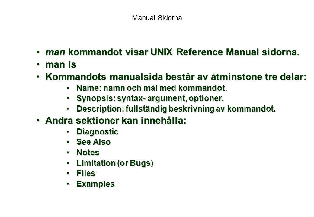 Manual Sidorna man kommandot visar UNIX Reference Manual sidorna.man kommandot visar UNIX Reference Manual sidorna.
