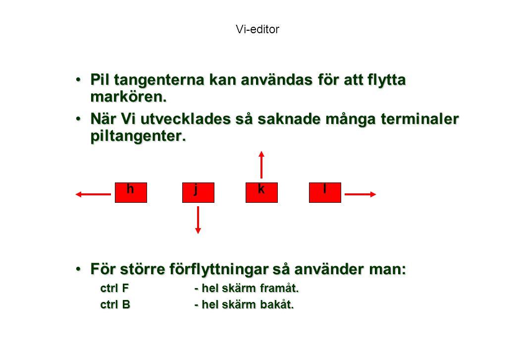 Vi-editor Pil tangenterna kan användas för att flytta markören.Pil tangenterna kan användas för att flytta markören.