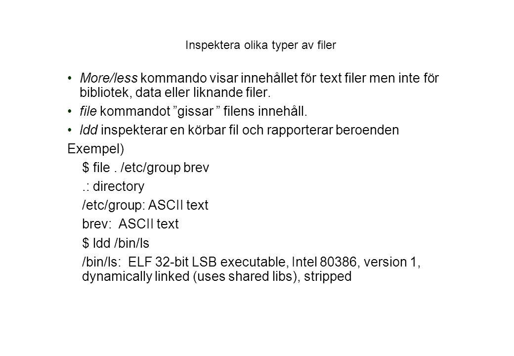 Inspektera olika typer av filer More/less kommando visar innehållet för text filer men inte för bibliotek, data eller liknande filer.