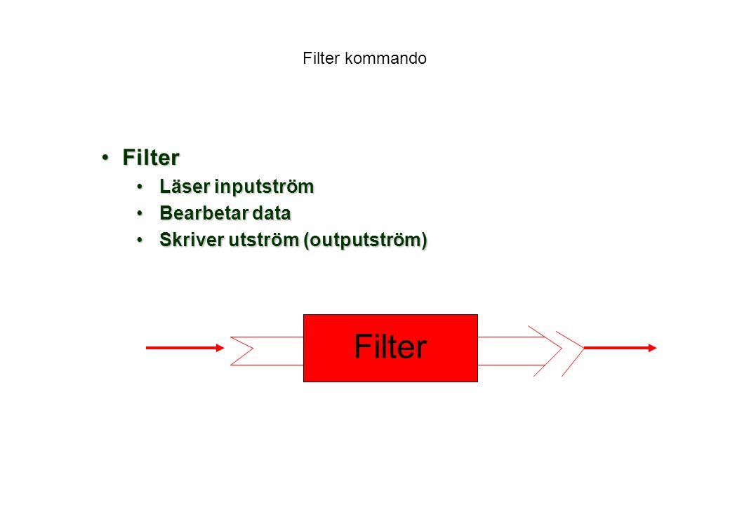 Filter kommando FilterFilter Läser inputströmLäser inputström Bearbetar dataBearbetar data Skriver utström (outputström)Skriver utström (outputström) Filter