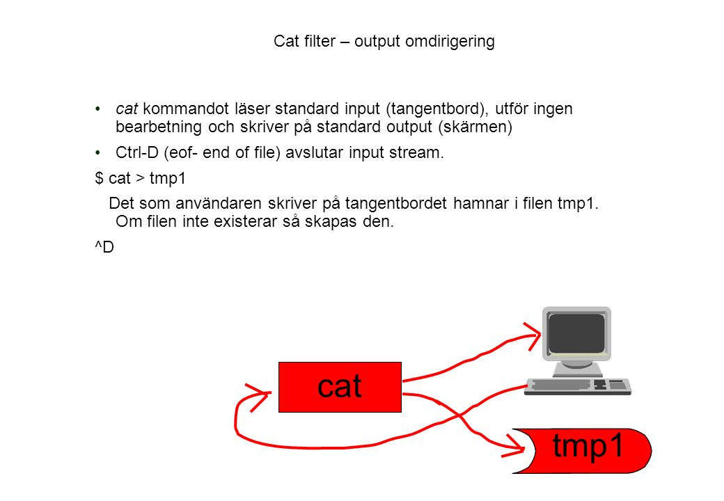 Cat filter – output omdirigering cat kommandot läser standard input (tangentbord), utför ingen bearbetning och skriver på standard output (skärmen) Ctrl-D (eof- end of file) avslutar input stream.