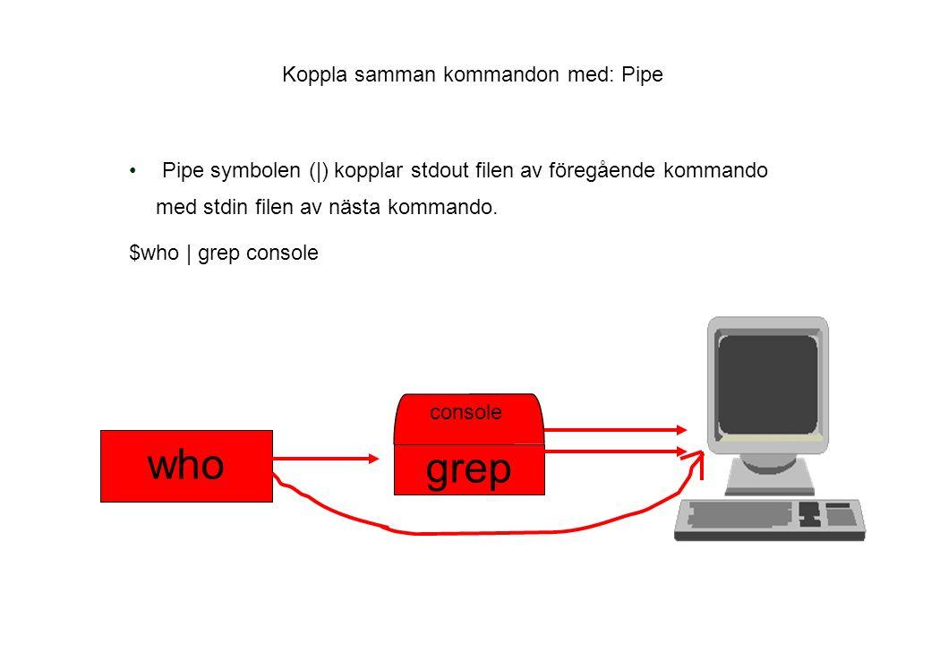 Koppla samman kommandon med: Pipe Pipe symbolen (|) kopplar stdout filen av föregående kommando med stdin filen av nästa kommando.