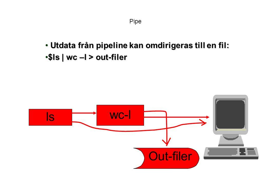 Pipe Utdata från pipeline kan omdirigeras till en fil: Utdata från pipeline kan omdirigeras till en fil: $ls | wc –l > out-filer$ls | wc –l > out-filer ls wc-l Out-filer