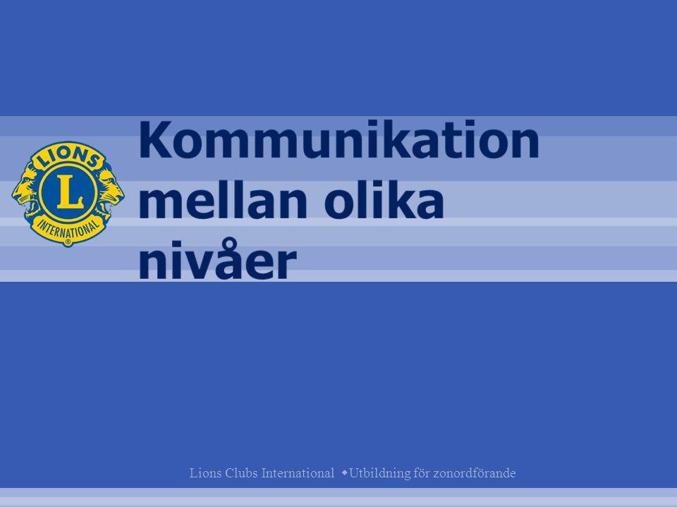 Kommunikation mellan olika nivåer Distrikt Zon Klubb