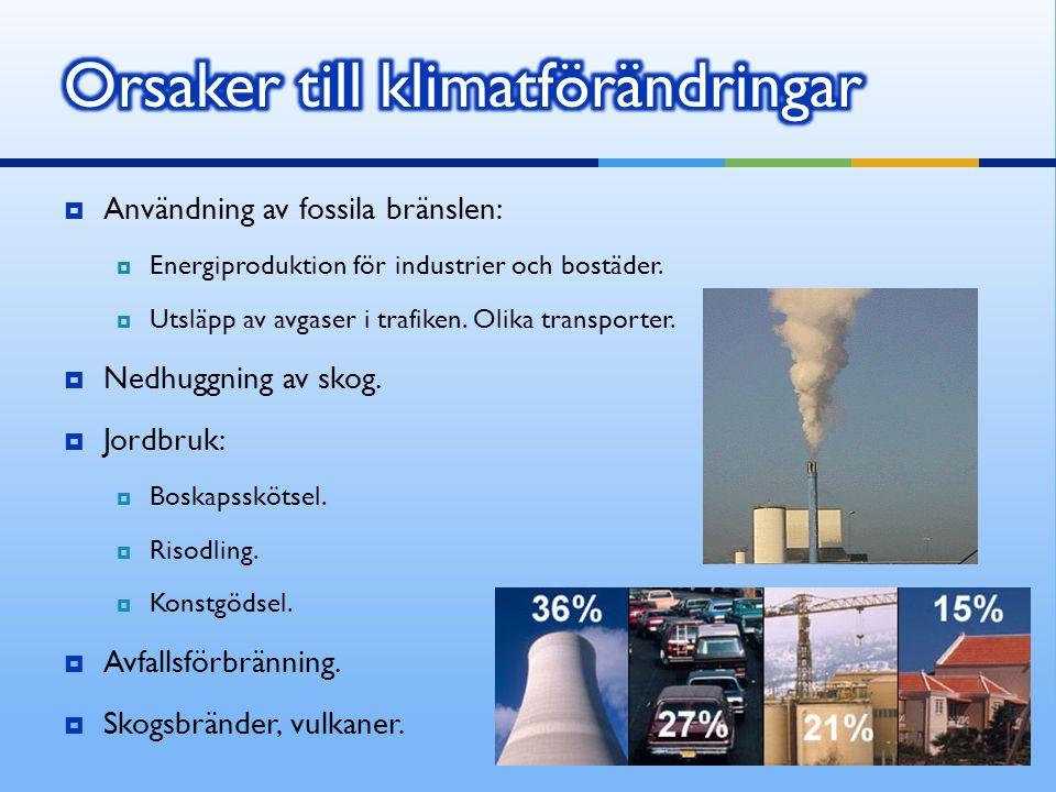  Användning av fossila bränslen:  Energiproduktion för industrier och bostäder.  Utsläpp av avgaser i trafiken. Olika transporter.  Nedhuggning av